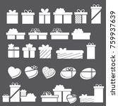 icons set of gift boxes. vector ... | Shutterstock .eps vector #759937639