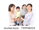 two mothers carrying  children... | Shutterstock . vector #759938524