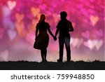 silhouette lovers holding hands ...   Shutterstock . vector #759948850