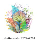 colorful leaves decoration... | Shutterstock .eps vector #759967234