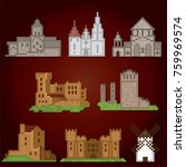 medieval  icons set. pixel art. ... | Shutterstock .eps vector #759969574