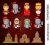 medieval  icons set. pixel art. ... | Shutterstock .eps vector #759969580
