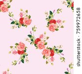 seamless floral pattern three... | Shutterstock .eps vector #759972658