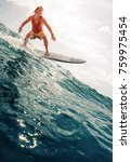 surfer rides the ocean wave.... | Shutterstock . vector #759975454