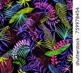 leafs pattern on black...   Shutterstock . vector #759978454