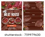 barbecue meat menu card for... | Shutterstock .eps vector #759979630