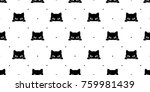 Stock vector black cat kitten polka dot seamless pattern background wallpaper 759981439