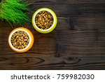Stock photo dry pet food in bowls and green grass in pot on dark wooden background top view copyspace 759982030