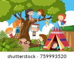 happy children playing in the... | Shutterstock .eps vector #759993520
