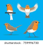 Cute European Robin Cartoon...