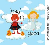opposite word for bad and good... | Shutterstock .eps vector #759997384