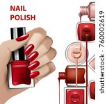 hand with red nail polish... | Shutterstock .eps vector #760002619