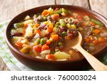 homemade soup with ground beef... | Shutterstock . vector #760003024