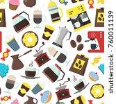 cartoon coffee shop background...   Shutterstock .eps vector #760011139