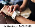 woman looking at her smart...   Shutterstock . vector #760011340