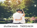smiling young couple in love... | Shutterstock . vector #760014634