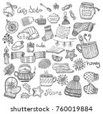 christmas doodle icons  set of... | Shutterstock .eps vector #760019884