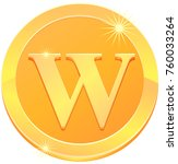 gold medal or coin with letter... | Shutterstock .eps vector #760033264