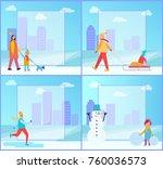 winter activities collection ... | Shutterstock .eps vector #760036573