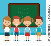 little students with chalkboard ... | Shutterstock .eps vector #760036870