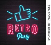 retro party neon light with... | Shutterstock .eps vector #760037668