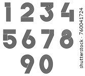 Numbers Set Thin Line Monogram...