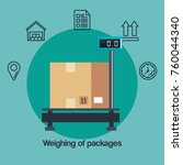 weighting of packages service | Shutterstock .eps vector #760044340