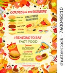 fast food burger and pizza menu ... | Shutterstock .eps vector #760048210