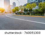 empty urban road and modern... | Shutterstock . vector #760051303
