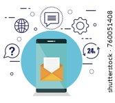 customer service flat settings | Shutterstock .eps vector #760051408