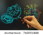 engineer working at computer on ... | Shutterstock . vector #760051888