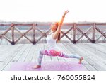 woman practicing yoga pose... | Shutterstock . vector #760055824