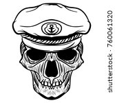 vintage naval skull drawing and ... | Shutterstock . vector #760061320