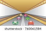 cars in tunnel. cars moving... | Shutterstock .eps vector #760061584