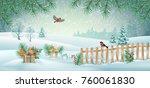 vector christmas winter... | Shutterstock .eps vector #760061830