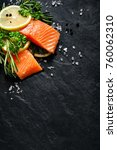 fresh fish portions with lemon... | Shutterstock . vector #760062310
