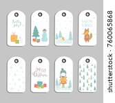 set of 8 cute christmas gift... | Shutterstock .eps vector #760065868