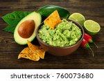 guacamole nachos and guacamole... | Shutterstock . vector #760073680
