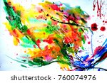 abstract watercolor texture.... | Shutterstock . vector #760074976
