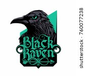 black raven logo with hand... | Shutterstock .eps vector #760077238