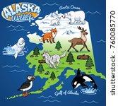 alaska wildlife map in cartoon