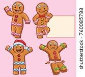 ginger bread character set | Shutterstock .eps vector #760085788