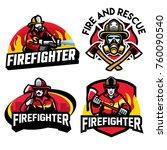 various fire department badge...   Shutterstock .eps vector #760090540