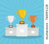 competition winners podium with ... | Shutterstock .eps vector #760091128