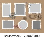 post marks set on craft paper... | Shutterstock .eps vector #760092880