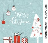 cute christmas gift card with... | Shutterstock . vector #760092988