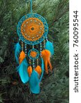 Small photo of Dream catcher with feathers threads and beads rope hanging. Dreamcatcher handmade