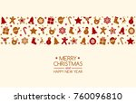 christmas card in retro style... | Shutterstock .eps vector #760096810