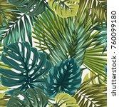tropical rainforest palm... | Shutterstock .eps vector #760099180