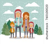 winter people background with... | Shutterstock .eps vector #760100020